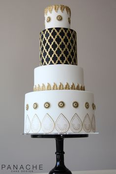themed cakes Moroccan themed cake trellis buttons handpainted mouldings weddingcake wedding cake London black and white gold antique contemporary tiers