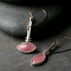 hartleystudio   marquis earrings in sterling silver, 14k rose gold and pink sapphires
