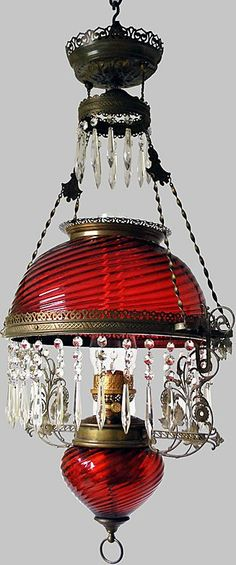 Cranberry Glass Oil Chandelier. Original Gone with the Wind Lamp.