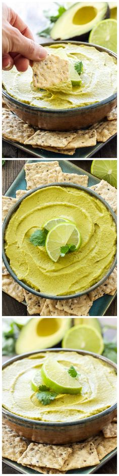 Avocado Lime Hummus - all the flavors of guacamole and hummus are combined into one delicious and gluten-free dip!!