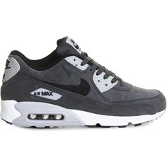 NIKE Air Max 90 suede trainers found on Polyvore featuring shoes, sneakers, nike, black wolf grey, grey suede shoes, black suede shoes, nike trainers, nike sneakers and lace up sneakers