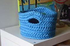 Crochet in Color: Another Version of the Chunky Basket (with more substantial handles to pull yarn through as a yarn basket)