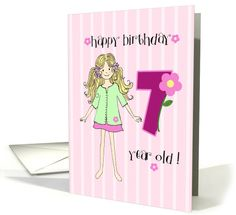 Birthday For 7 Year Old Girl Card