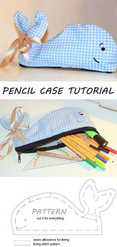 Pencil Case Tutorial, Diy Pencil Case, Zipper Pouch Tutorial, Stitch Patterns, Sewing Patterns, Cute Whales, Under The Sea Theme, Diy Wall, Diy Tutorial