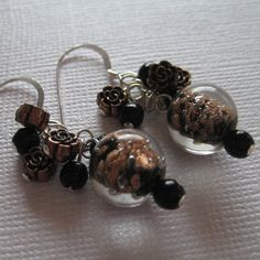 unique copper jewelry / Black and Copper Earrings