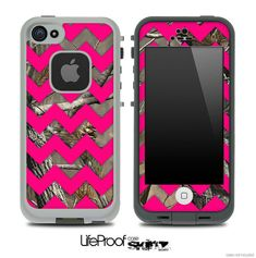 Camo & Pink Chevron Print Skin for the iPhone 4/4s or 5 LifeProof Case on Etsy, $9.99