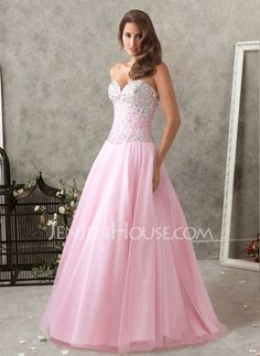Prom Dresses - $170.99 - New Style A-Line/Princess Sweetheart Floor-Length Satin Tulle Prom Dresses With Beading (018004902) http://jenjenhouse.com/pinterest-g4902