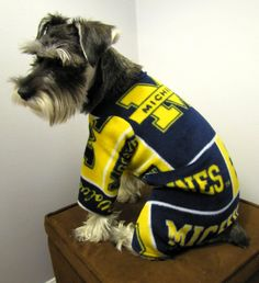 Michigan Fleece Dog Pajamas Long Johns by playfulpup on Etsy, $30.00