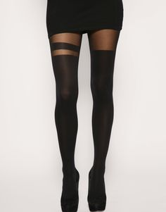ASOS, BLACK OVER THE KNEE STRIPE TIGHTS: i can never resist tights. $17.24