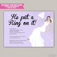 He Put A Ring On It Shower Invitation - Custom Bridal Engagement Shower Invitation - DIGITAL -  DIY Printable Invitation on Etsy, $15.00
