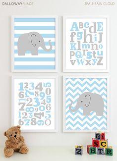 Baby Boy Nursery Art Chevron Elephant Nursery Prints, Kids Wall Art Baby Boys Art, Baby Nursery Decor ABC Alphabet Art Numbers Art - 8x10 via Etsy