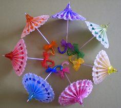 Parchment craft umbrella parasoles - la passion de Mamisette
