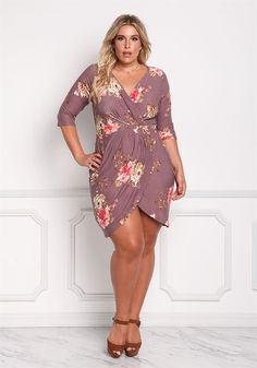 Plus Size Clothing | Plus Size Floral Faux Wrap Bodycon Dress | Debshops
