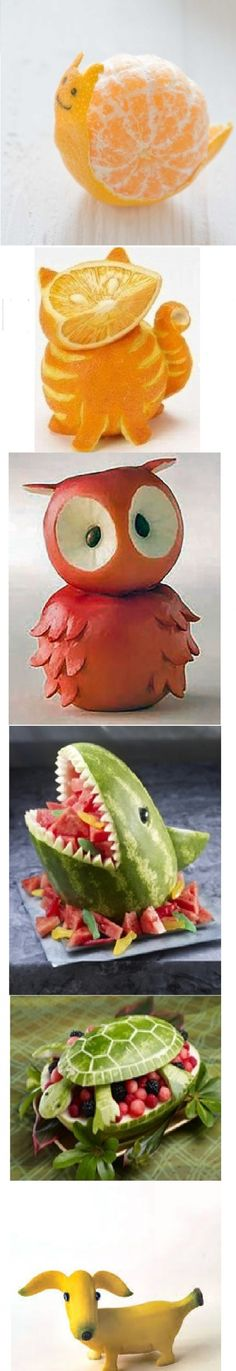 Fun Food Art: Ok the banana dog, orange tabby, and apple owl are figurines, not actual food.
