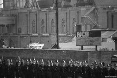 Police line up outside Easington Colliery. Miners strike 1984
