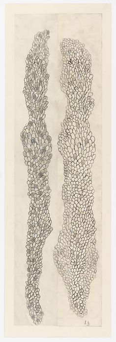Louise Bourgeois, Tous les deux (Swaying), 2006. Etching, ink, gouache and pencil on paper, 59 x 19 in