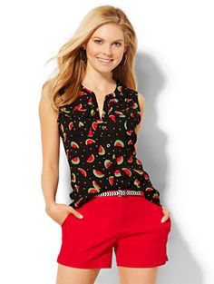 Shop Sleeveless Soho Soft Shirt - Watermelon Print . Find your perfect size online at the best price at New York & Company.