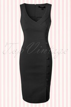 """The50s Julia Pencil Dress in Black by Fever is a sassy pin-up style dress, vavavoom!  This fitted pencil style features a sexy deep wrap over neckline and a striking row of fabric faux buttons that run across the entire length. The skirt will hug your curves beautifully without marking any problem areas and the side slit at the front makes a playful detail. Made from a stretchy viscose blend and finished off with a hidden zipper at the back. With a height of 1.70m/5'7""""..."""