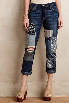 Siga el Patchwork Jeans Trend www. Patch Jeans, Patchwork Jeans, Denim Fashion, Fashion Outfits, Trendy Fashion, Fashion Brands, Diy Kleidung, Diy Vetement, Mode Jeans