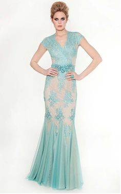 Turquoise Teri Jon lace evening gown  Style #36051
