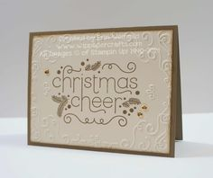A handmade Christmas Card using Christmas Cheer andt the Filigree Frame TIEF from Stampin Up by www.wippapercrafts.com