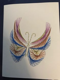 Paper Embroidery, Embroidery Patterns, Paper Butterflies, Butterfly, Nail String Art, Bobbin Lace, Kirigami, Card Ideas, Quilts