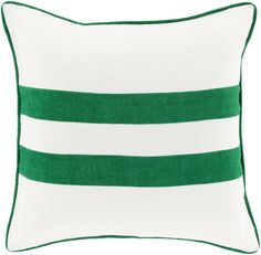 Linen Stripe Emerald/Kelly Green/Ivory Pillow