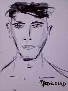 Original painting portrait gouache on paper 8x11 by Johnnylobo, $100.00