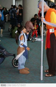 A little Korra with Avatar Aang! She looks so excited to see him! kawaii!