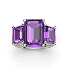 Emerald-Cut Amethyst 14K White Gold Ring with Amethyst - Naked Emerald Triple Ring | Gemvar 1332