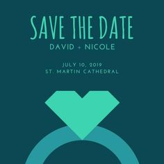 Turquoise Heart Ring Save the Date Announcement Printable