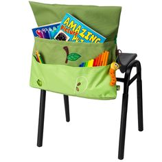 Step-By-Step Chair Bag with caterpillar toy $27.95 - Harlequin School Bags – Chair Bags are great for classroom or home storage. Tidy up your child's art tools quickly. #Kids #Storage_Solutions #Tidy_Tips #Back_To_School #School