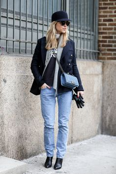 Pernille Teisbæk paried '90s denim with a cross-body Chanel bag - Street Style at New York Fashion Week #NYFW
