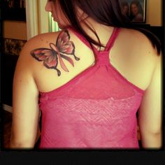 Breast Cancer Butterfly Tattoo