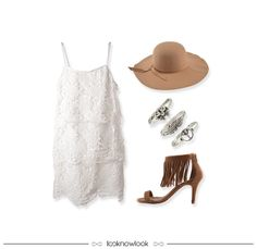 Boho Look | Vestido de renda, chapéu floppy, conjunto de anéis e sandália de franjas. | Lace dress, floppy hat, accessories and fringed sandal. #moda #look #outfit #looknowlook