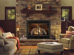 Heat & Glo 6000CLX Vented Gas Fireplace w/ Halston Front