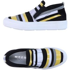 Msgm Sneakers ($222) ❤ liked on Polyvore featuring shoes, sneakers, yellow, multi colored sneakers, leather sneakers, pull on sneakers, slip on shoes and flat slip on shoes