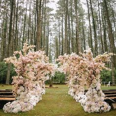 This outdoor #ceremony is already enchanting with the forest-like setting, but…
