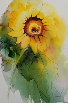 Fun watercolor sunflower by Bertie Brown. #Art #Watercolor