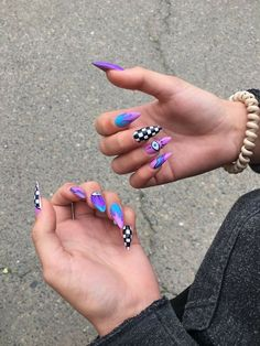 Long Square Acrylic Nails, Acrylic Nails Coffin Short, Summer Acrylic Nails, Best Acrylic Nails, Edgy Nails, Grunge Nails, Stylish Nails, Swag Nails, Edgy Nail Art
