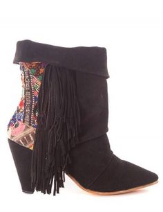 BLACK FRINGE NUKA BOOTS 10201502-NEW of Squirrel