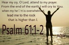 When my heart is overwhelmed lead me to the rock that is higher than I. Psalm 61:2