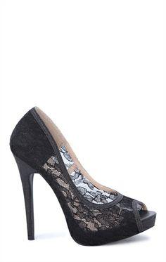 Deb Shops Peep Toe #Lace #pump with Fabric Glitter Trim $20.93