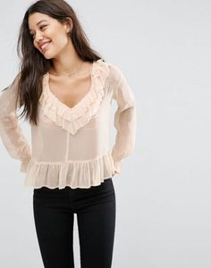 ASOS Sheer Blouse with Raw Edge Ruffle