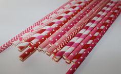 Valentines Day red and pink party Shower 24 Paper striped chevron polka dotted stripes paper straws on Etsy, $4.00