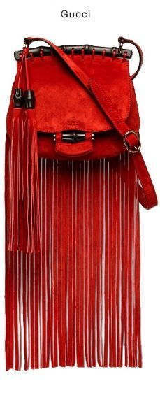 """Gucci Spring 2014 - only $1950.00 -     red suede   -  black lacquered bamboo details   -  polished rose gold   -  leather lining    - Made in Italy    - adjustable strap with 20"""" drop    - embossed gucci trademark    - double tassel with bamboo details    - snap and zip interior pockets    - small size: 9.5""""W x 7.5""""H x 2""""D"""