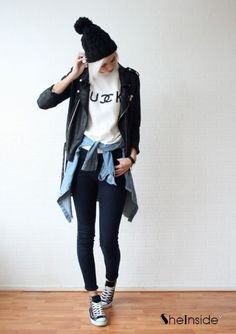 skinny jeans, fish-head tennis shoes, shirt tied at waist, leather jacket