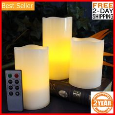 Each candle requires 3 AAA batteries and batteries are NOT included. ENJOY ALL THE BENEFITS of traditional candles! We care about your safety and a risk of fire shouldn't be a concern. What type of Battery do the candles use? Flameless Candles With Timer, Candle Lanterns, Candle Wax, Tea Light Candles, Votive Candles, Tea Lights, Led Replacement Bulbs
