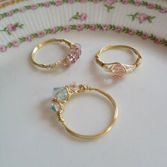 Gold wire pale pink crystal and and iridescent by LisasWishingWELL