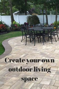 Mounting a Block or Paver Walkway – Outdoor Patio Decor Outdoor Patio Pavers, Outdoor Patio Designs, Backyard Patio, Concrete Patios, Cement Patio, Backyard Designs, Backyard Retreat, Decking, Backyard Landscaping